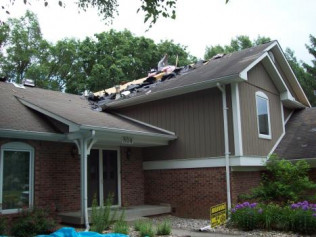 Old Roof tear off in progress